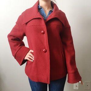 Saks Fifth Avenue Red Wool Blend Coat